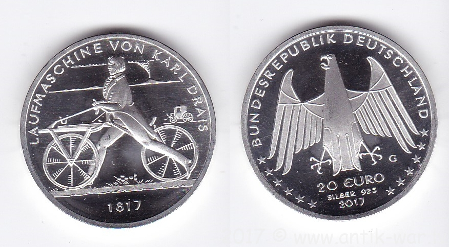 Germany 20 euro 2017 Karl Drais, silver.png